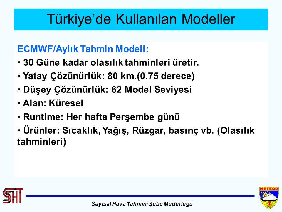 Sayısal Hava Tahmini Şube Müdürlüğü Türkiye'de Kullanılan Modeller ECMWF/Aylık Tahmin Modeli: 30 Güne kadar olasılık tahminleri üretir. Yatay Çözünürl