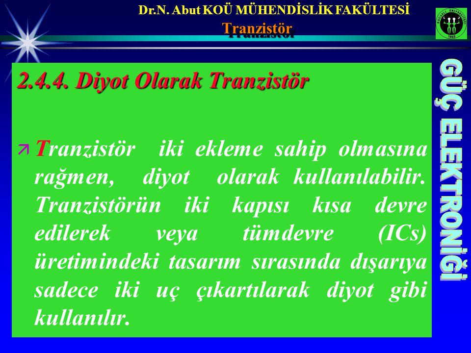 Dr.N. Abut KOÜ MÜHENDİSLİK FAKÜLTESİTranzistörTranzistör 2.4.4. Diyot Olarak Tranzistör ä ä Tranzistör iki ekleme sahip olmasına rağmen, diyot olarak
