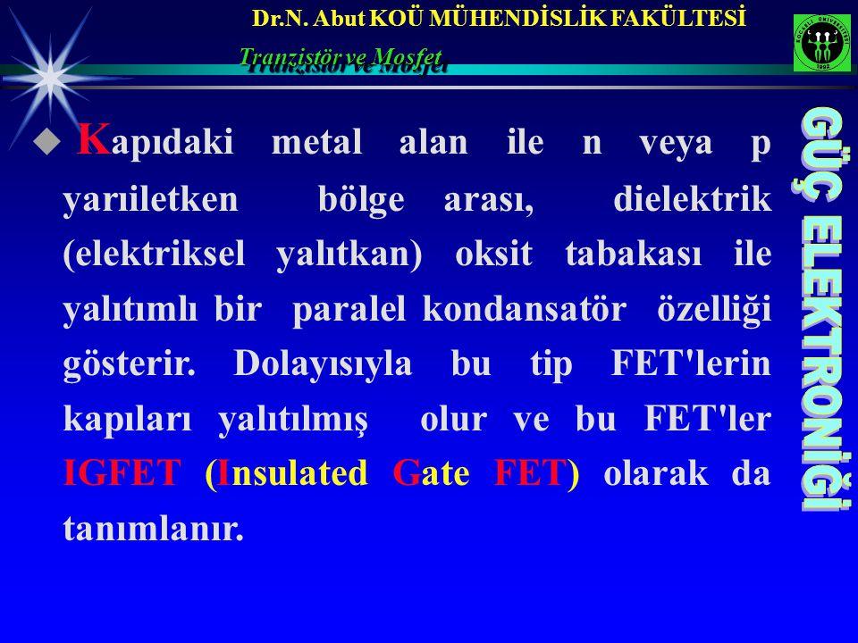 Dr.N. Abut KOÜ MÜHENDİSLİK FAKÜLTESİ Tranzistör ve Mosfet  K apıdaki metal alan ile n veya p yarıiletken bölge arası, dielektrik (elektriksel yalıtka
