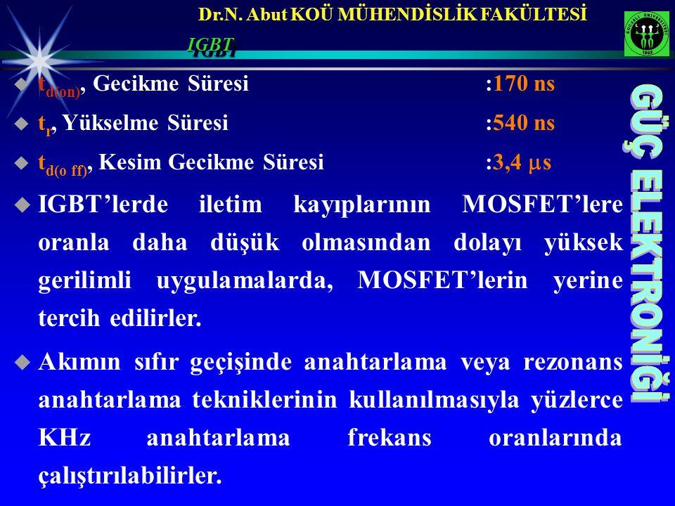 Dr.N. Abut KOÜ MÜHENDİSLİK FAKÜLTESİ  t d(on), Gecikme Süresi :170 ns  t r, Yükselme Süresi :540 ns  t d(o ff), Kesim Gecikme Süresi:3,4  s  IGBT