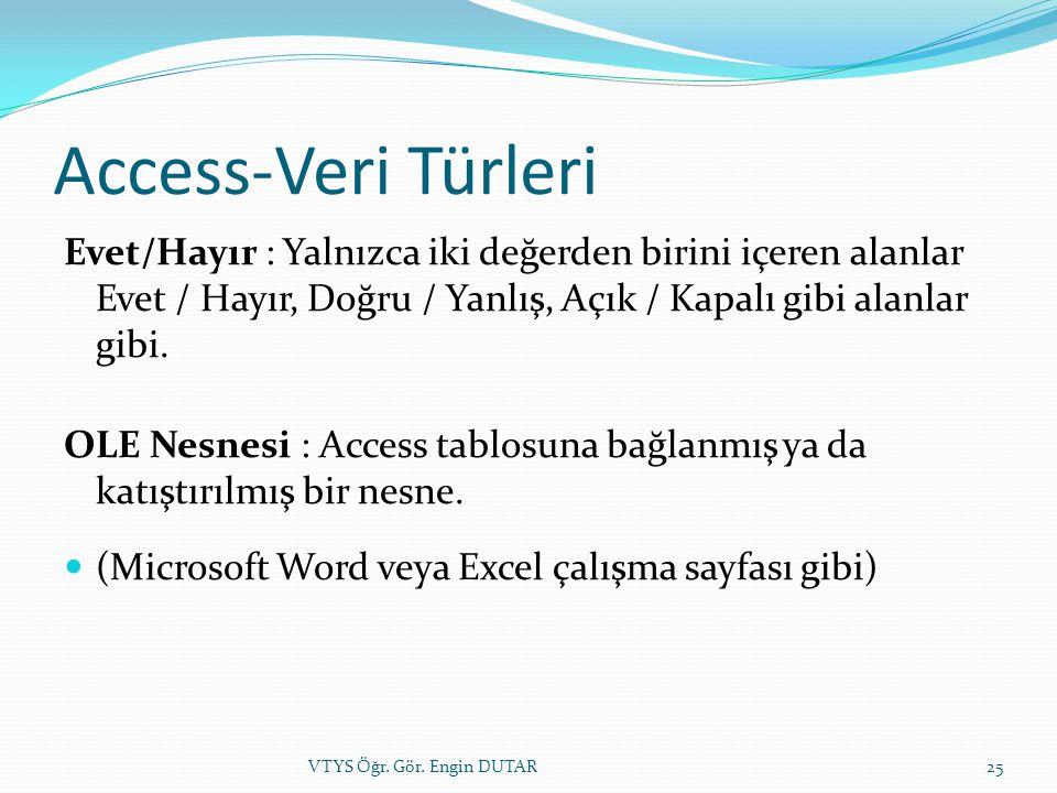Access-Veri Türleri Evet/Hayır : Yalnızca iki değerden birini içeren alanlar Evet / Hayır, Doğru / Yanlış, Açık / Kapalı gibi alanlar gibi. OLE Nesnes