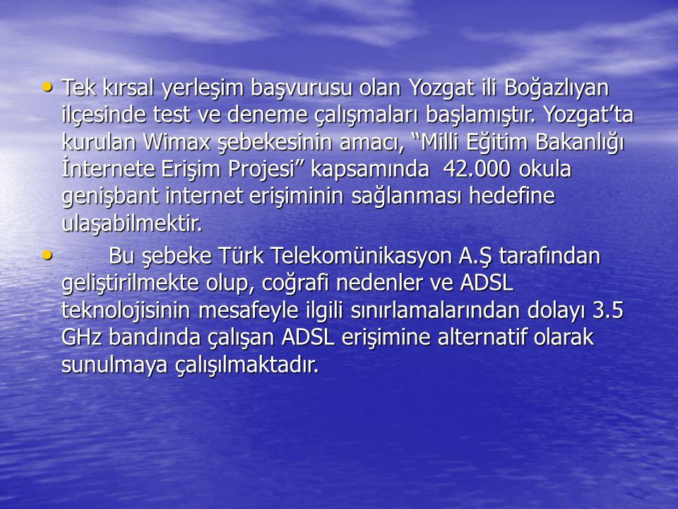 Tek kırsal yerleşim başvurusu olan Yozgat ili Boğazlıyan ilçesinde test ve deneme çalışmaları başlamıştır. Yozgat'ta kurulan Wimax şebekesinin amacı,