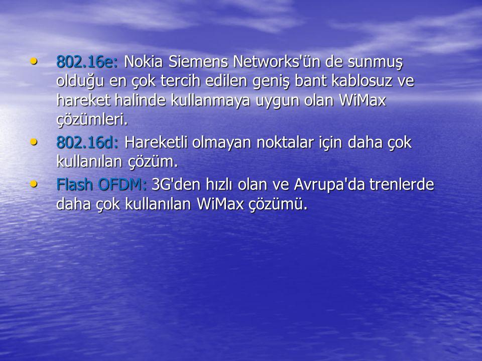 802.16e: Nokia Siemens Networks'ün de sunmuş olduğu en çok tercih edilen geniş bant kablosuz ve hareket halinde kullanmaya uygun olan WiMax çözümleri.