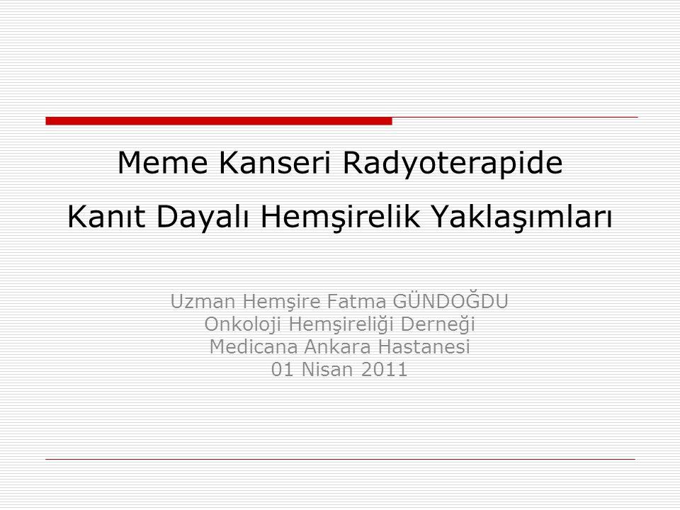 Sunu İçeriği  Radyoterapide Gelişmeler  Meme Kanserinde Radyoterapi  Meme Kanseri Radyoterapide Semptomlar  Meme Kanseri Radyoterapide Kanıt Dayalı Çalışmalar