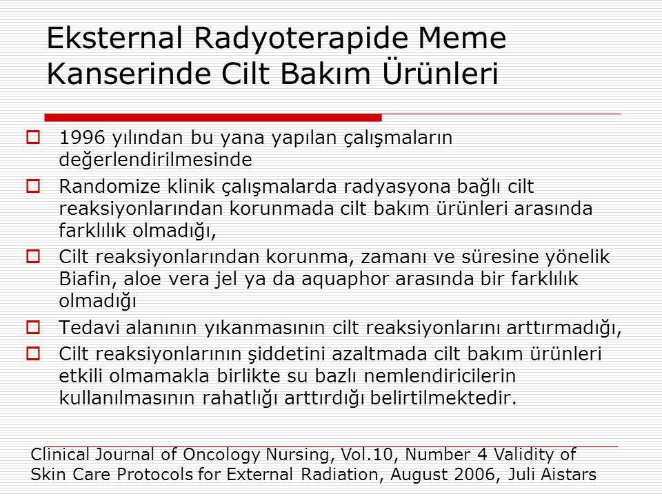 Eksternal Radyoterapide Meme Kanserinde Cilt Bakım Ürünleri  1996 yılından bu yana yapılan çalışmaların değerlendirilmesinde  Randomize klinik çalış