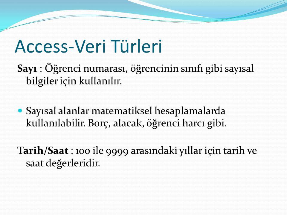 Access-Veri Türleri Sayı : Öğrenci numarası, öğrencinin sınıfı gibi sayısal bilgiler için kullanılır. Sayısal alanlar matematiksel hesaplamalarda kull