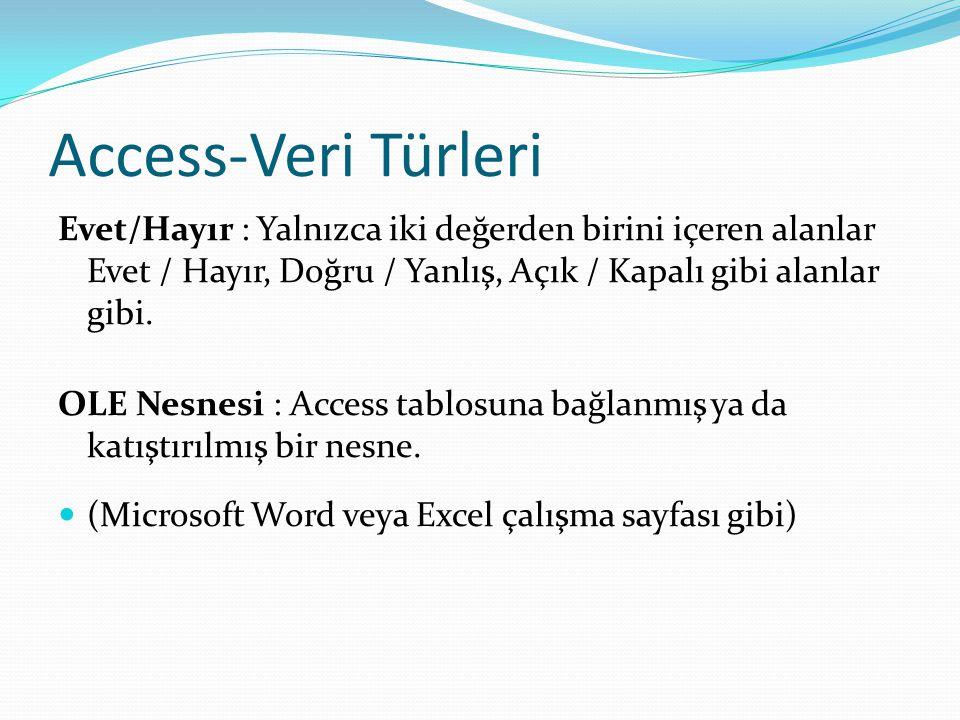 Access-Veri Türleri Evet/Hayır : Yalnızca iki değerden birini içeren alanlar Evet / Hayır, Doğru / Yanlış, Açık / Kapalı gibi alanlar gibi.
