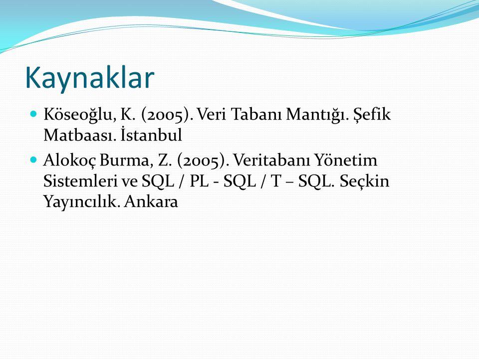 Kaynaklar Köseoğlu, K. (2005). Veri Tabanı Mantığı. Şefik Matbaası. İstanbul Alokoç Burma, Z. (2005). Veritabanı Yönetim Sistemleri ve SQL / PL - SQL