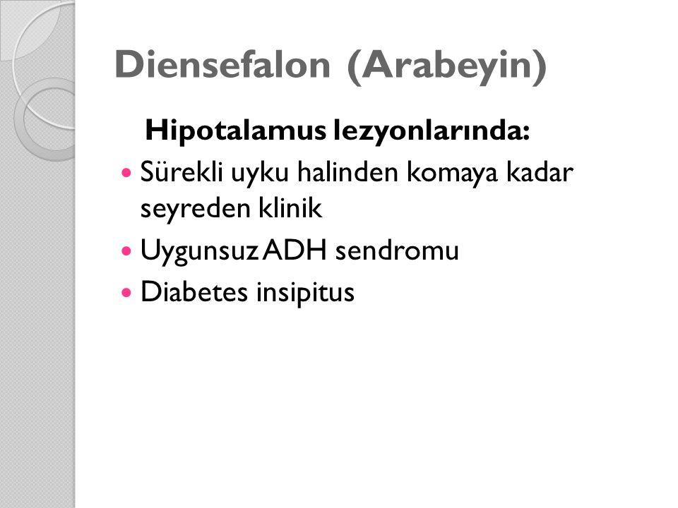 Diensefalon (Arabeyin) Hipotalamus lezyonlarında: Sürekli uyku halinden komaya kadar seyreden klinik Uygunsuz ADH sendromu Diabetes insipitus