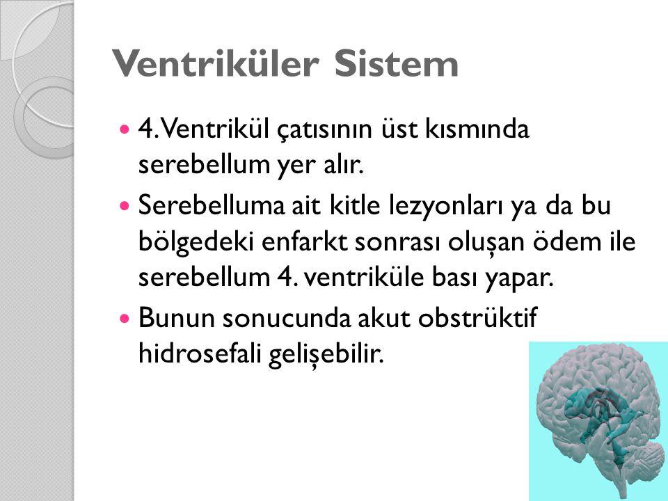 Ventriküler Sistem 4. Ventrikül çatısının üst kısmında serebellum yer alır. Serebelluma ait kitle lezyonları ya da bu bölgedeki enfarkt sonrası oluşan