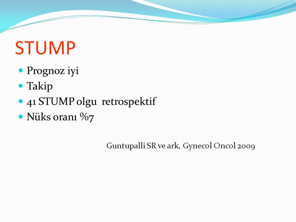 STUMP Prognoz iyi Takip 41 STUMP olgu retrospektif Nüks oranı %7 Guntupalli SR ve ark, Gynecol Oncol 2009