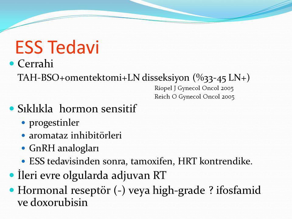 ESS Tedavi Cerrahi TAH-BSO+omentektomi+LN disseksiyon (%33-45 LN+) Riopel J Gynecol Oncol 2005 Reich O Gynecol Oncol 2005 Sıklıkla hormon sensitif progestinler aromataz inhibitörleri GnRH analogları ESS tedavisinden sonra, tamoxifen, HRT kontrendike.