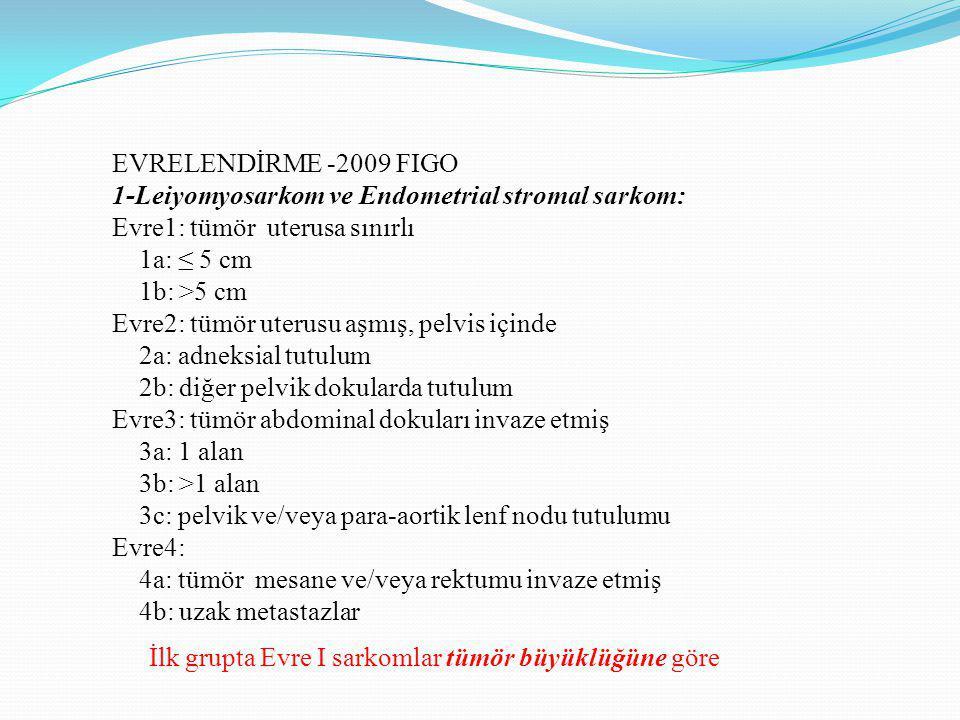 EVRELENDİRME -2009 FIGO 1-Leiyomyosarkom ve Endometrial stromal sarkom: Evre1: tümör uterusa sınırlı 1a: ≤ 5 cm 1b: >5 cm Evre2: tümör uterusu aşmış, pelvis içinde 2a: adneksial tutulum 2b: diğer pelvik dokularda tutulum Evre3: tümör abdominal dokuları invaze etmiş 3a: 1 alan 3b: >1 alan 3c: pelvik ve/veya para-aortik lenf nodu tutulumu Evre4: 4a: tümör mesane ve/veya rektumu invaze etmiş 4b: uzak metastazlar İlk grupta Evre I sarkomlar tümör büyüklüğüne göre