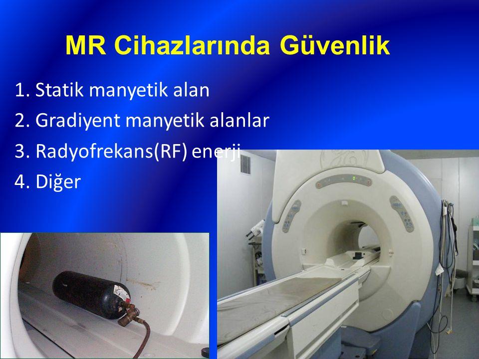 MR Cihazlarında Güvenlik 1. Statik manyetik alan 2. Gradiyent manyetik alanlar 3. Radyofrekans(RF) enerji 4. Diğer