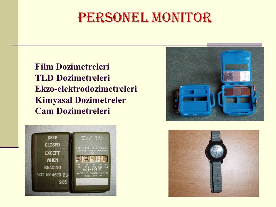 PERSONEL MONITOR Film Dozimetreleri TLD Dozimetreleri Ekzo-elektrodozimetreleri Kimyasal Dozimetreler Cam Dozimetreleri