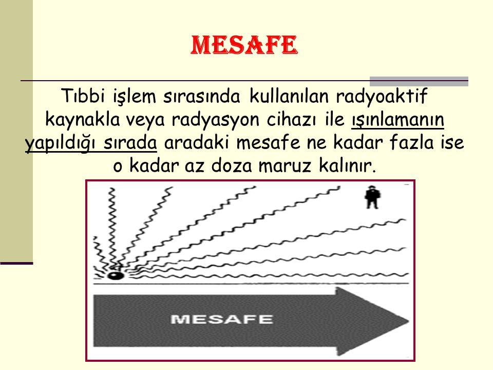MESAFE Tıbbi işlem sırasında kullanılan radyoaktif kaynakla veya radyasyon cihazı ile ışınlamanın yapıldığı sırada aradaki mesafe ne kadar fazla ise o kadar az doza maruz kalınır.