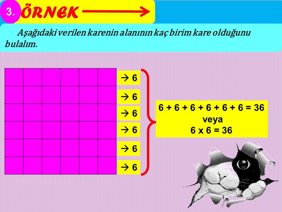 ÖRNEK 3. Aşağıdaki verilen karenin alanının kaç birim kare olduğunu bulalım.  6 6 + 6 + 6 + 6 + 6 + 6 = 36 veya 6 x 6 = 36  6