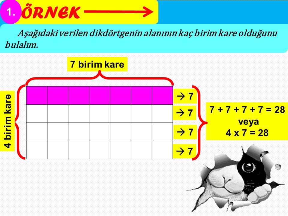 ÖRNEK 1. Aşağıdaki verilen dikdörtgenin alanının kaç birim kare olduğunu bulalım. 7 birim kare  7 7 + 7 + 7 + 7 = 28 veya 4 x 7 = 28 4 birim kare  7