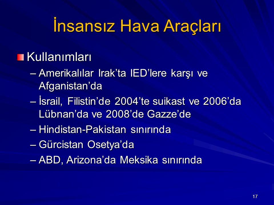 İnsansız Hava Araçları Kullanımları –Amerikalılar Irak'ta IED'lere karşı ve Afganistan'da –İsrail, Filistin'de 2004'te suikast ve 2006'da Lübnan'da ve