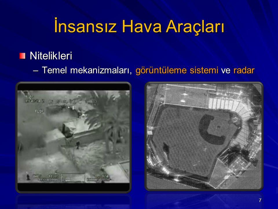 İnsansız Hava Araçları Nitelikleri –Temel mekanizmaları, görüntüleme sistemi ve radar 7