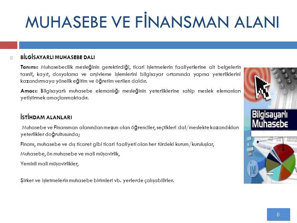 MUHASEBE VE F İ NANSMAN ALANI 10.