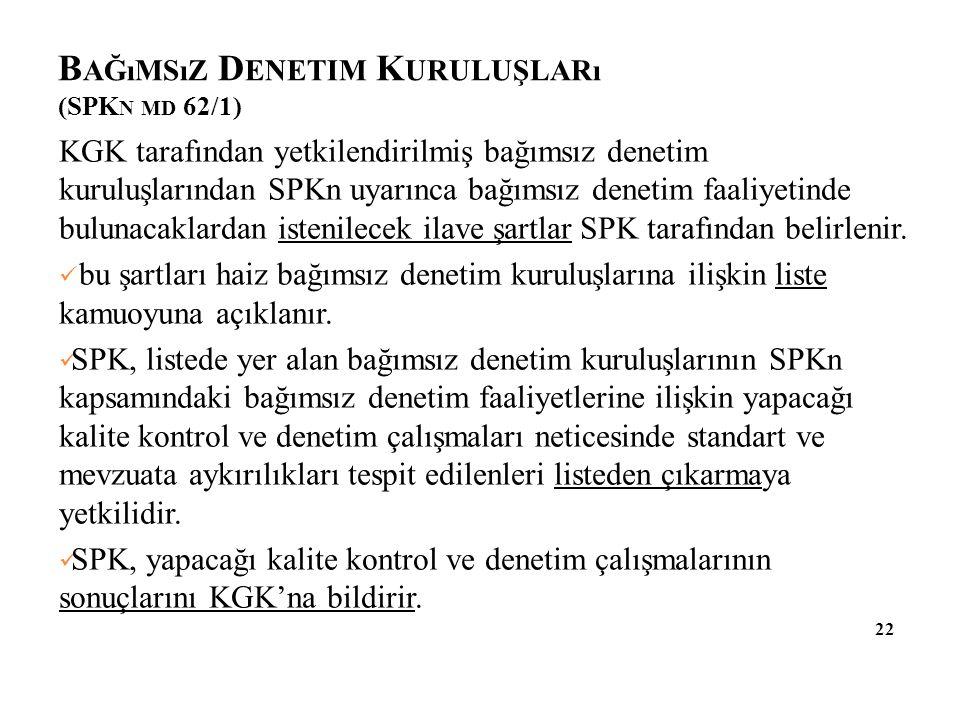 B AĞıMSıZ D ENETIM K URULUŞLARı (SPK N MD 62/1) 22 KGK tarafından yetkilendirilmiş bağımsız denetim kuruluşlarından SPKn uyarınca bağımsız denetim faa