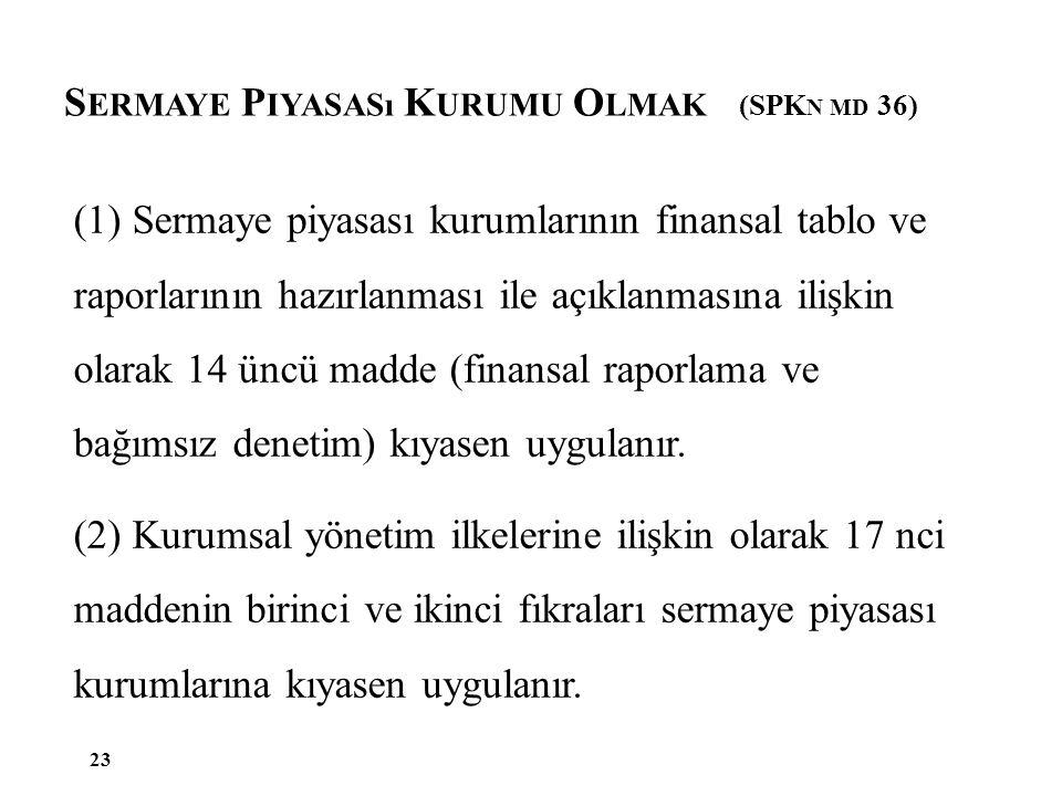 S ERMAYE P IYASASı K URUMU O LMAK (SPK N MD 36) 23 (1) Sermaye piyasası kurumlarının finansal tablo ve raporlarının hazırlanması ile açıklanmasına ili