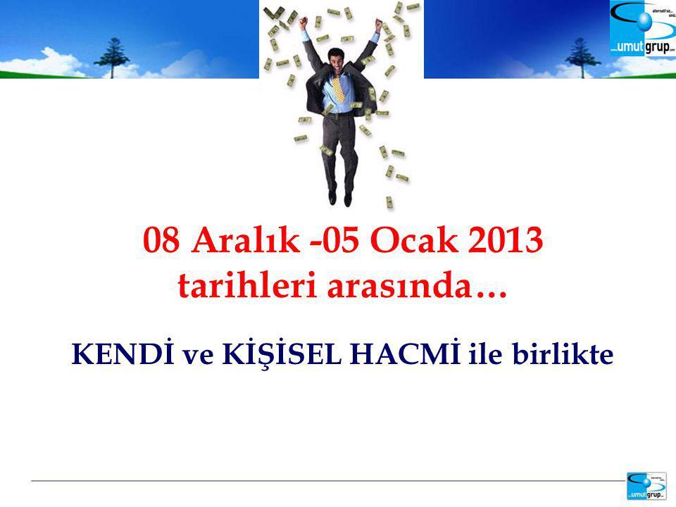 KENDİ ve KİŞİSEL HACMİ ile birlikte 08 Aralık -05 Ocak 2013 tarihleri arasında…