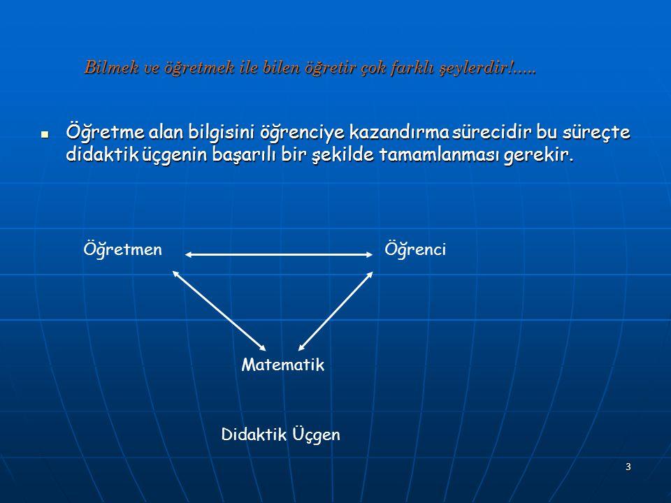 4 Alan bilgisinin öğrenciye kazandırılması sürecinde didaktik üçgenin başarılı bir şekilde tamamlanması doğrudan öğretmenlik bilgisinin niteliğine bağlıdır.