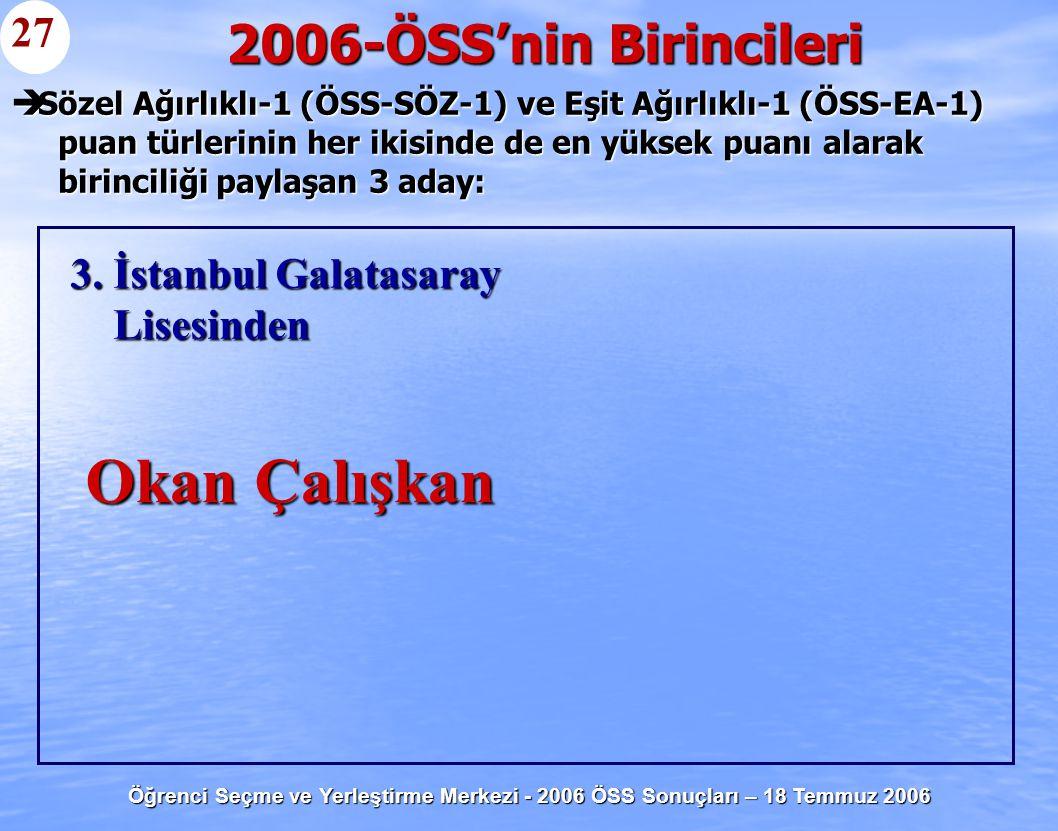 Öğrenci Seçme ve Yerleştirme Merkezi - 2006 ÖSS Sonuçları – 18 Temmuz 2006  Sözel Ağırlıklı-1 (ÖSS-SÖZ-1) ve Eşit Ağırlıklı-1 (ÖSS-EA-1) puan türleri