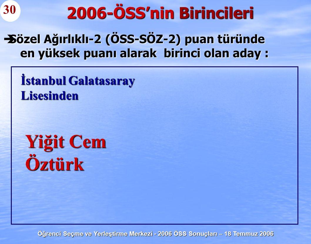 Öğrenci Seçme ve Yerleştirme Merkezi - 2006 ÖSS Sonuçları – 18 Temmuz 2006  Sözel Ağırlıklı-2 (ÖSS-SÖZ-2) puan türünde en yüksek puanı alarak birinci