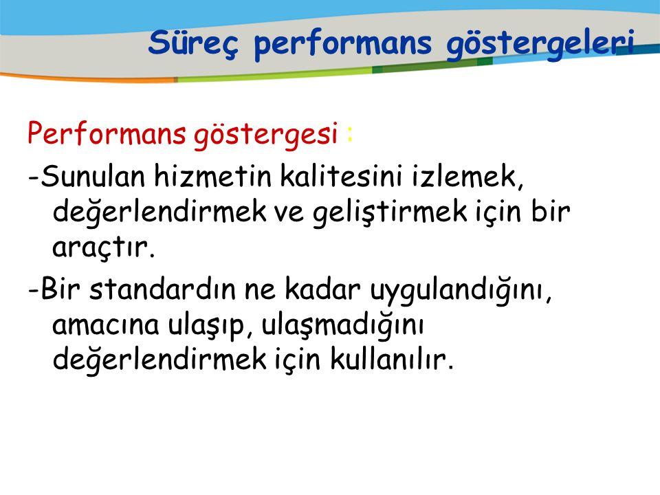 Süreçlerin Tanımlanması- Performans Süreçlerin performansını ölçebilmek için göstergelerin belirlenmesi gerekir. Genel olarak performans göstergeleri