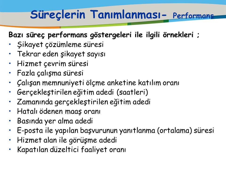 Süreçlerin Tanımlanması- Performans HİZMET ALAN MEMNUNİYET ÖLÇÜMLERİ :  Süreç performansını HİZMET ALAN'ın nasıl algıladığını gösterir. Örneğin : è G
