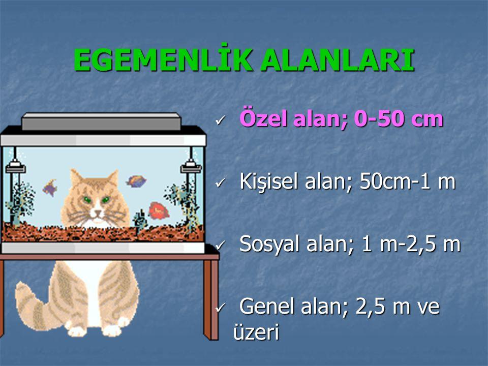 EGEMENLİK ALANLARI Özel alan; 0-50 cm Özel alan; 0-50 cm Kişisel alan; 50cm-1 m Kişisel alan; 50cm-1 m Sosyal alan; 1 m-2,5 m Sosyal alan; 1 m-2,5 m G