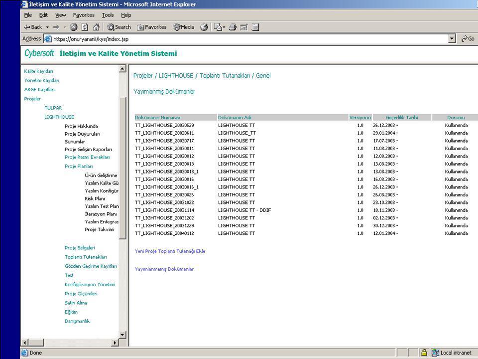 IMPROQ 2004 Kalite Sistemi Doküman Yönetimi (QDM) doküman listeleme –doküman numaraları, –doküman adları, –sürüm numaraları, –yayım tarihleri, –duruml