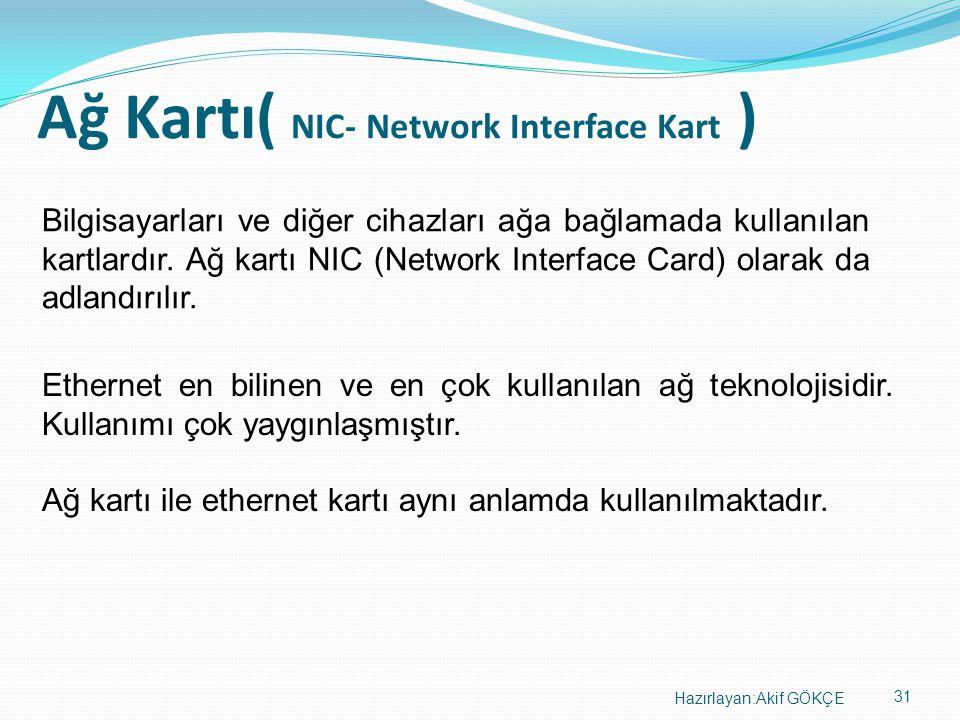 31 Hazırlayan:Akif GÖKÇE Ağ Kartı( NIC- Network Interface Kart ) Bilgisayarları ve diğer cihazları ağa bağlamada kullanılan kartlardır. Ağ kartı NIC (