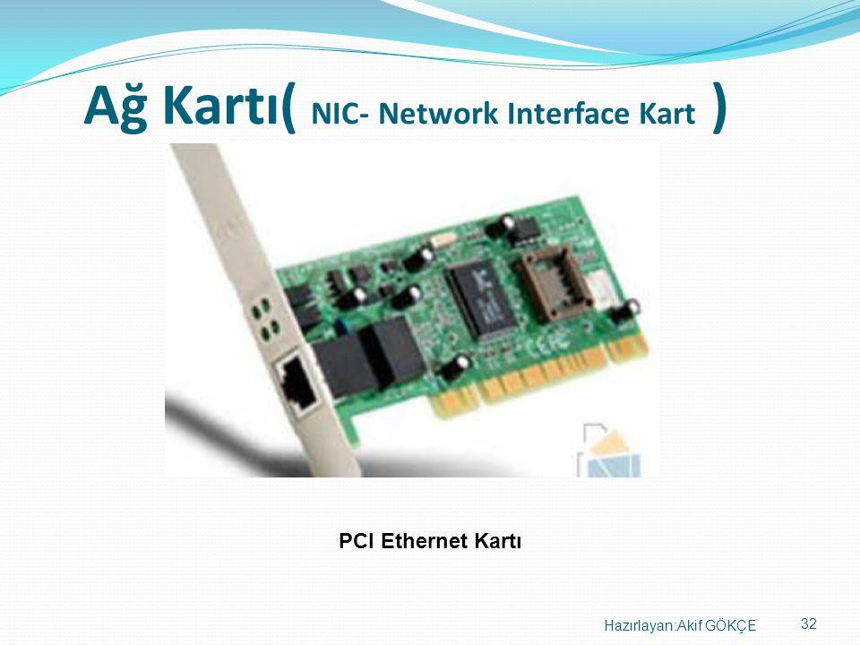 32 Hazırlayan:Akif GÖKÇE Ağ Kartı( NIC- Network Interface Kart ) PCI Ethernet Kartı