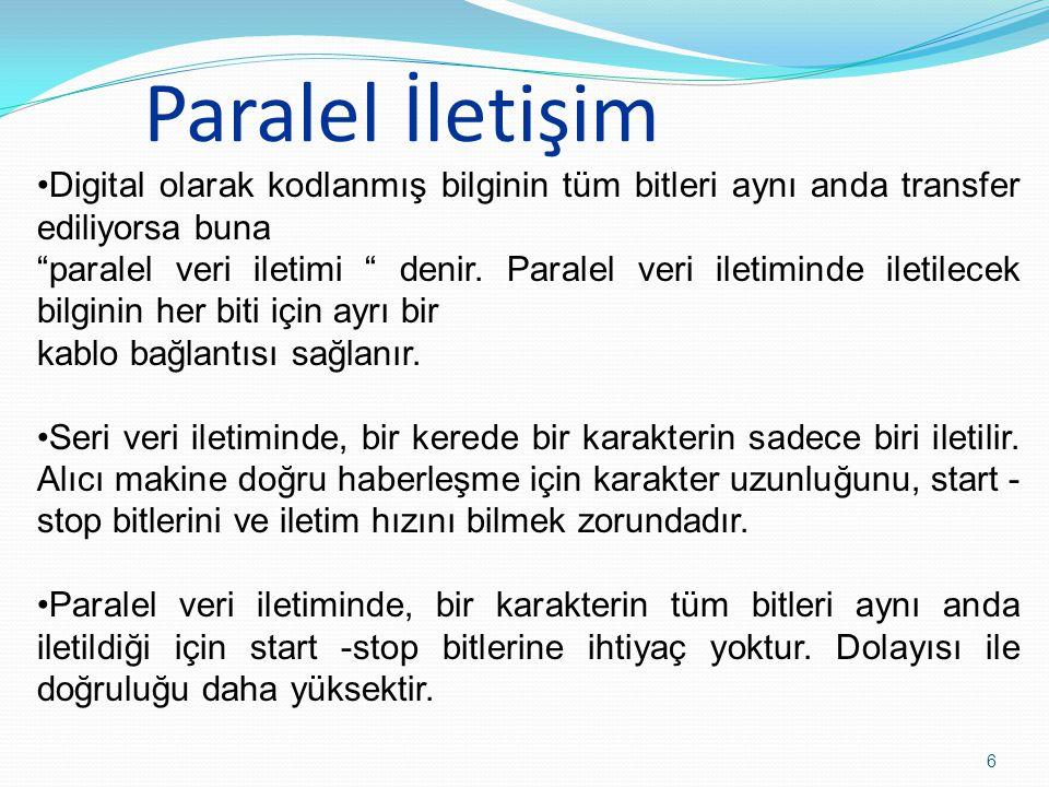 """Paralel İletişim 6 Digital olarak kodlanmış bilginin tüm bitleri aynı anda transfer ediliyorsa buna """"paralel veri iletimi """" denir. Paralel veri iletim"""