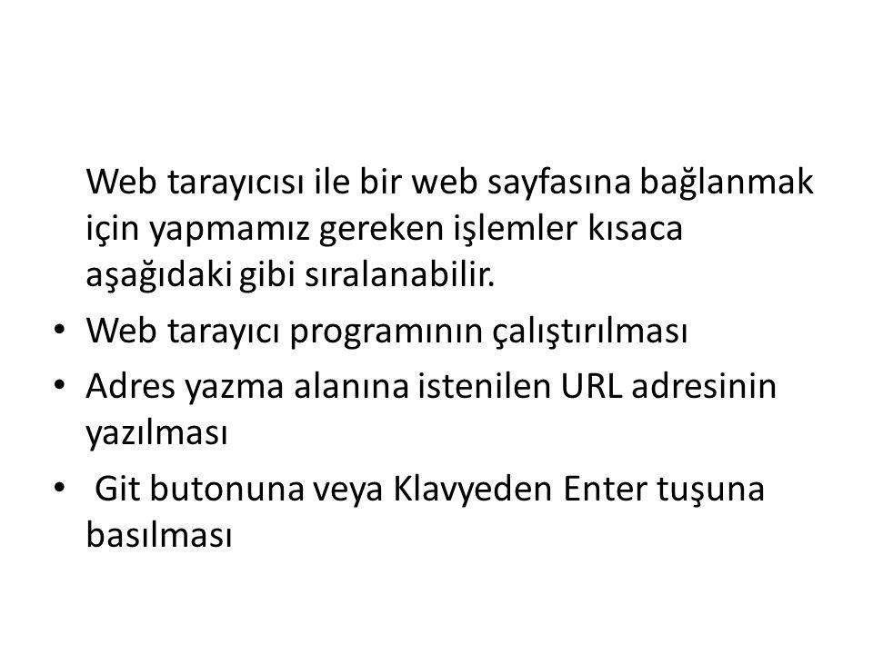 Web tarayıcısı ile bir web sayfasına bağlanmak için yapmamız gereken işlemler kısaca aşağıdaki gibi sıralanabilir. Web tarayıcı programının çalıştırıl