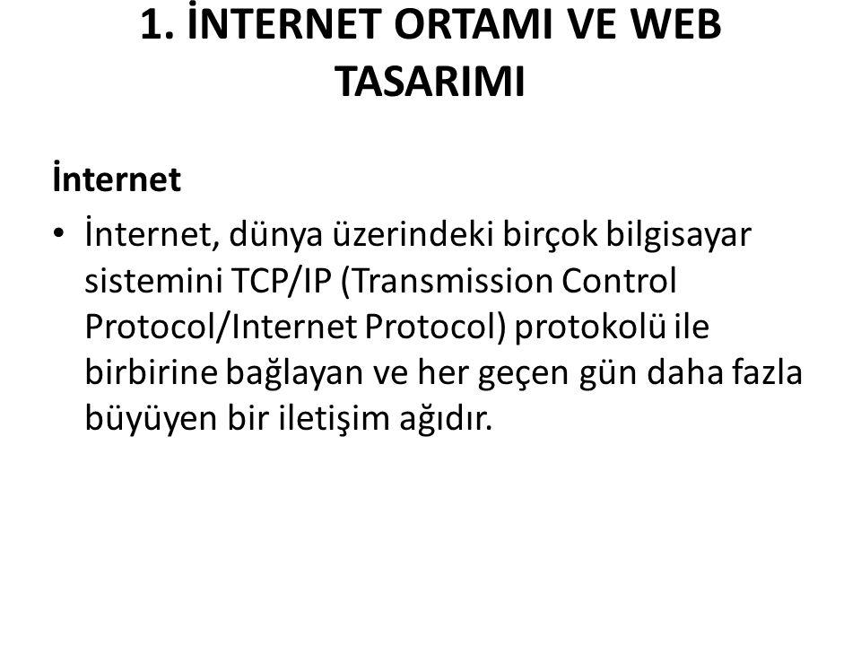 1. İNTERNET ORTAMI VE WEB TASARIMI İnternet İnternet, dünya üzerindeki birçok bilgisayar sistemini TCP/IP (Transmission Control Protocol/Internet Prot