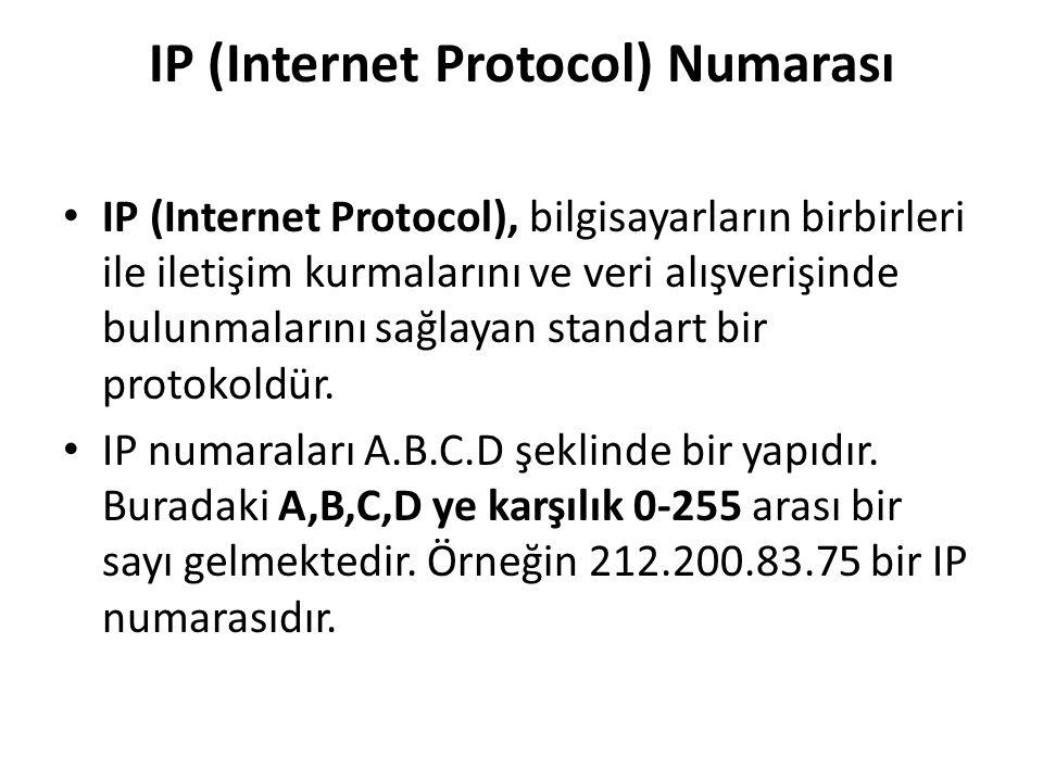 IP (Internet Protocol) Numarası IP (Internet Protocol), bilgisayarların birbirleri ile iletişim kurmalarını ve veri alışverişinde bulunmalarını sağlay