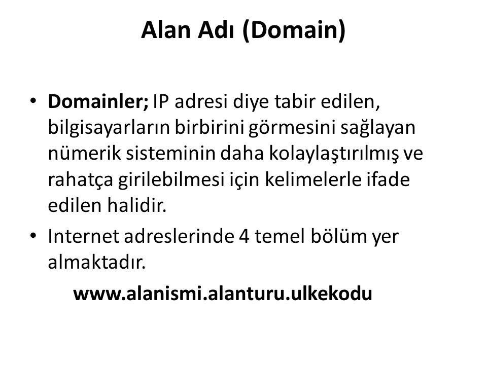 Alan Adı (Domain) Domainler; IP adresi diye tabir edilen, bilgisayarların birbirini görmesini sağlayan nümerik sisteminin daha kolaylaştırılmış ve rah