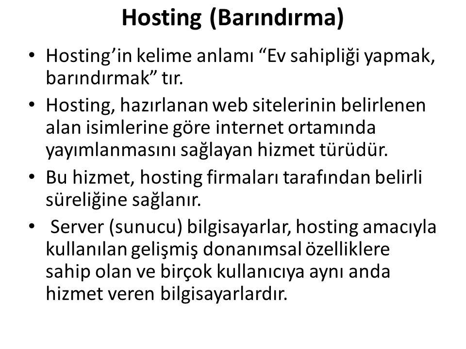 """Hosting (Barındırma) Hosting'in kelime anlamı """"Ev sahipliği yapmak, barındırmak"""" tır. Hosting, hazırlanan web sitelerinin belirlenen alan isimlerine g"""