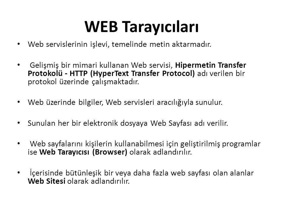 WEB Tarayıcıları Web servislerinin işlevi, temelinde metin aktarmadır. Gelişmiş bir mimari kullanan Web servisi, Hipermetin Transfer Protokolü - HTTP