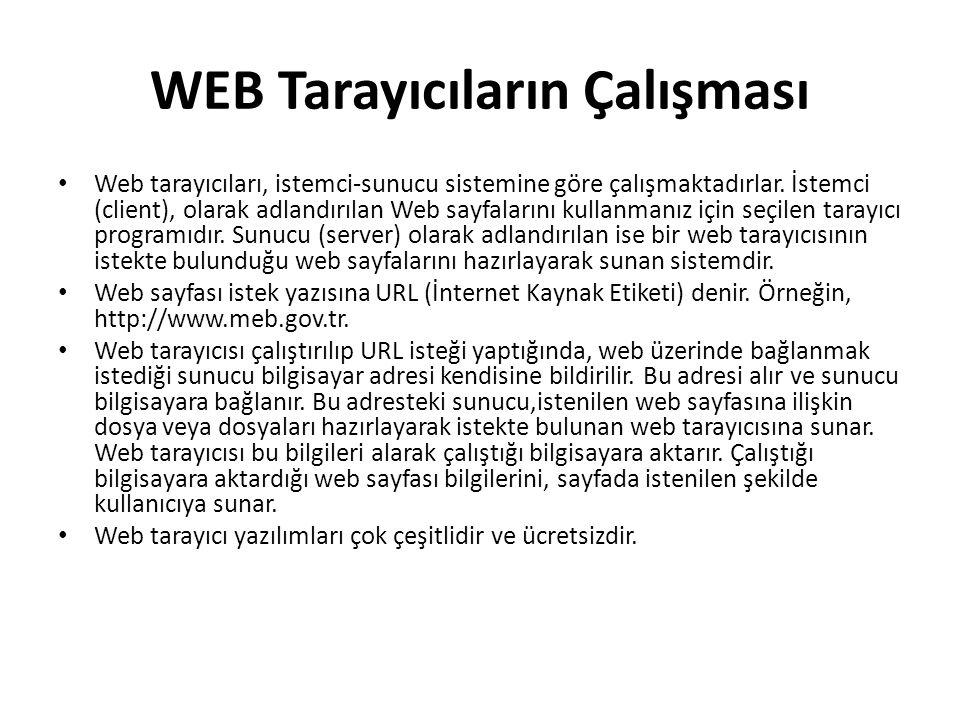 WEB Tarayıcıların Çalışması Web tarayıcıları, istemci-sunucu sistemine göre çalışmaktadırlar. İstemci (client), olarak adlandırılan Web sayfalarını ku