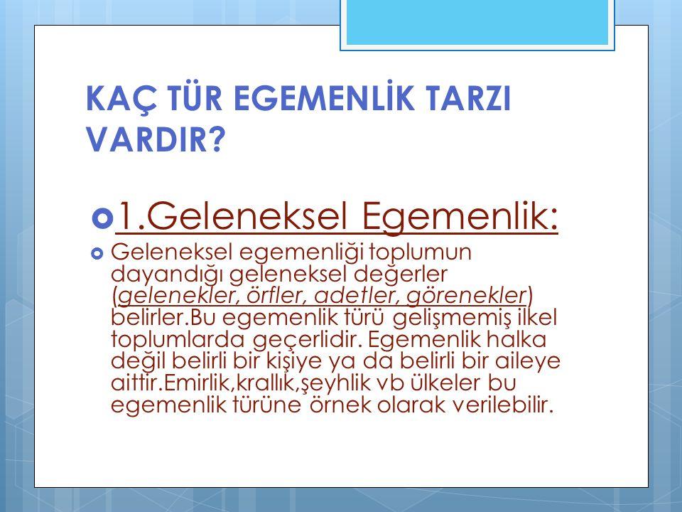 KAÇ TÜR EGEMENLİK TARZI VARDIR.