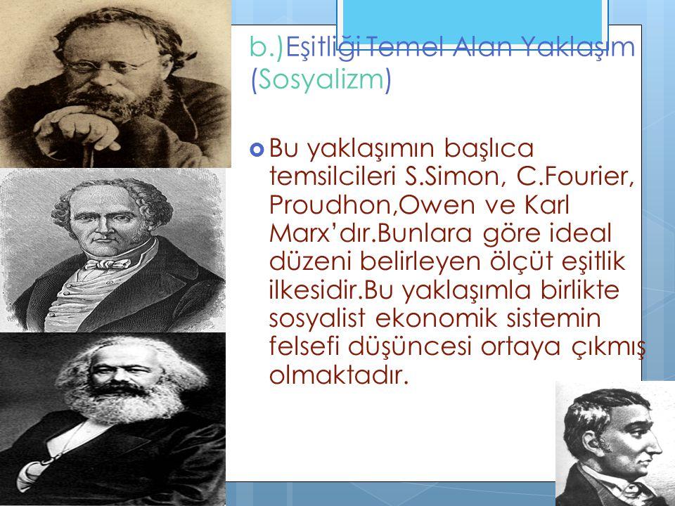 b.)Eşitliği Temel Alan Yaklaşım (Sosyalizm)  Bu yaklaşımın başlıca temsilcileri S.Simon, C.Fourier, Proudhon,Owen ve Karl Marx'dır.Bunlara göre ideal düzeni belirleyen ölçüt eşitlik ilkesidir.Bu yaklaşımla birlikte sosyalist ekonomik sistemin felsefi düşüncesi ortaya çıkmış olmaktadır.