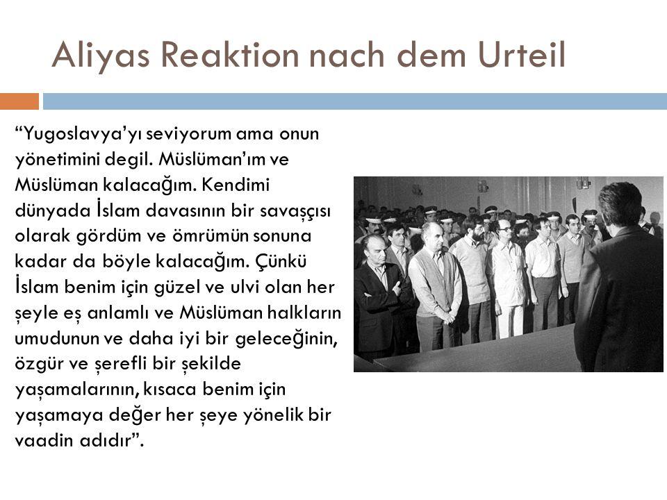 Aliyas Reaktion nach dem Urteil Yugoslavya'yı seviyorum ama onun yönetimini degil.