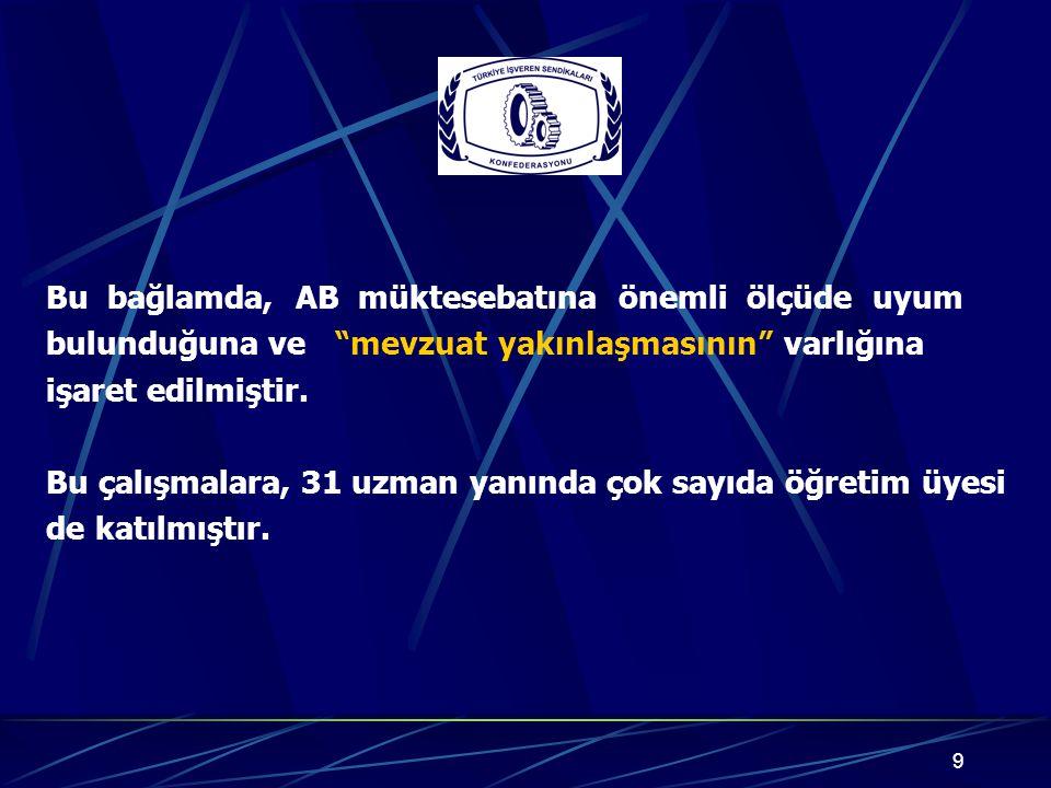 10 AB Mevzuatını İnceleme Komisyonunun bu çalışma sürecinde hazırladığı Raporda; 2003 tarihli Avrupa Birliği Müktesebatının Üstlenilmesine İlişkin Türkiye Ulusal Programında Uyum Sağlanacağı taahhüt edilen AB Müktesebatı ile 9 Kasım 2005 tarihli İlerleme Raporu'nda yer alan eleştiriler, Katılım Ortaklığı Belgesinde yer alan kısa ve orta vadeli öncelikler temel alınmıştır.