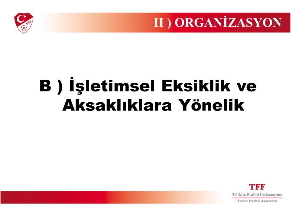 B ) İşletimsel Eksiklik ve Aksaklıklara Yönelik II ) ORGANİZASYON